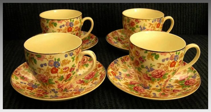 Chintz porcelain cup and saucer